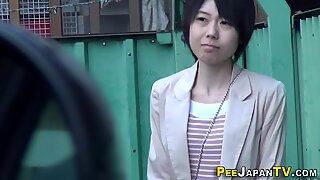 Classy japanese babes pee and get spied on
