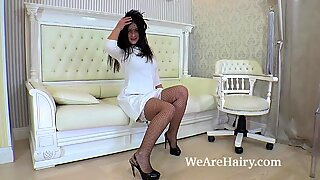 Emmy Gola Strips Naked On Her White Couch-WeAreHairy - Emily Gold