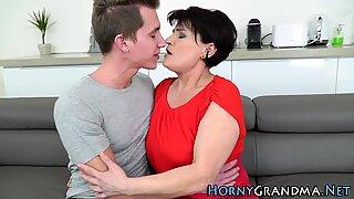 Mature grandma gets cum