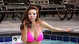 Big Tits Asian in Pink Bikini