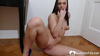 Amazing brunette stepsister fingers her pretty slit