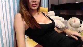 Slender Asian Trans Stroking Her Hot Hairy Dick