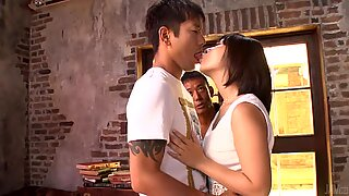 Asian shares her slit in raucous groupsex