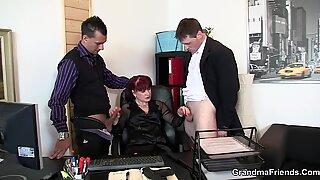 Hot office mature double penetration