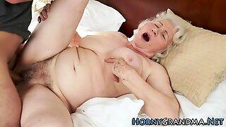 Old granny gets cumshot