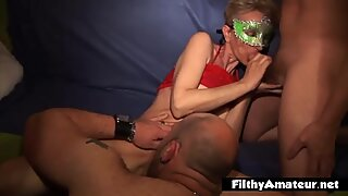 Renata, shaven mature ugly wife in amateur orgy