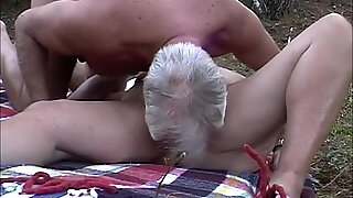 Mature couple fuck in forest