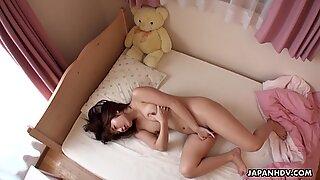 Japanese housewife, Mai Misato masturbates, uncensored