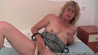 grandmother With rock hard nipples Finger Fucks Her Old Pussy