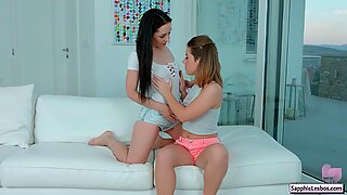 Hot lesbian sapphic babes Di Devi and Sasha Zima prepare for a good lesbian fuck