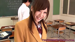 Cute Japanese schoolgirl blows cock after classReport this video