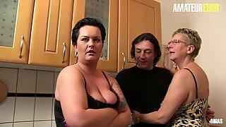 AMATEUR EURO - Mature Germans Share Cock In Hot FFM Sex