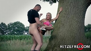 HITZEFREI Hot German blonde MILF fucked outside