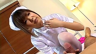 Sweet beautiful nurse Rika Hayama gives handjob to her patient