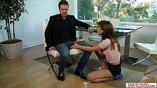 Teen babe fucking her classmates dad