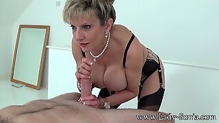 Handjob queen Lady Sonia has another cock to jerk