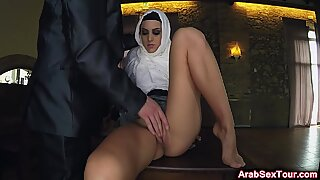 Busty Arab babe pleased with fat cock